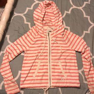 Pink striped zip up jacket